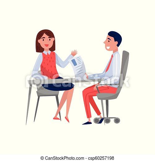 女, 専門家, モデル, 時間, 若い, イラスト, 雇用者, 話し, 仕事, ベクトル, jobseeker, 背景, インタビュー, テーブル, 白, 持つこと - csp60257198