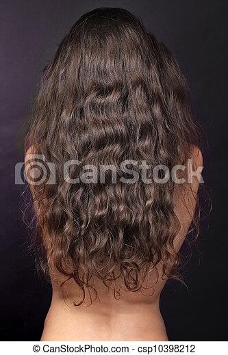 女, 巻き毛, 毛, 長い間, 背中, ブルネット - csp10398212
