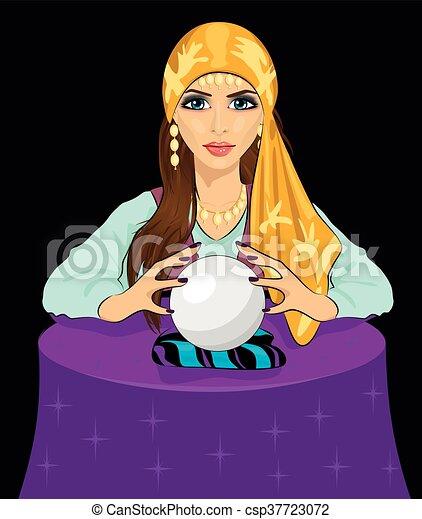 女, 幸運, 若い, 魔法, 水晶球, ...