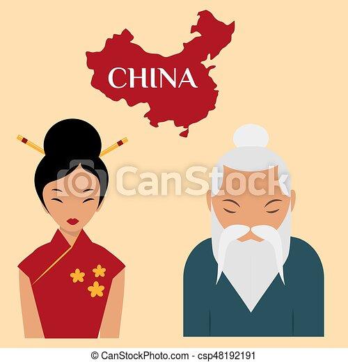 女 引退した 中国語 年配 祖父 人 ベクトル イラスト肖像画 老人