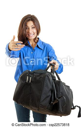 女, 彼女, 呼出し, 旅行, スーツケース, あなた, 来なさい - csp22573818