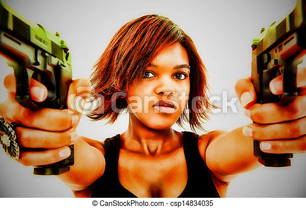 女, 怒る, 若い, 黒, 芸術的, 肖像画, 銃 - csp14834035