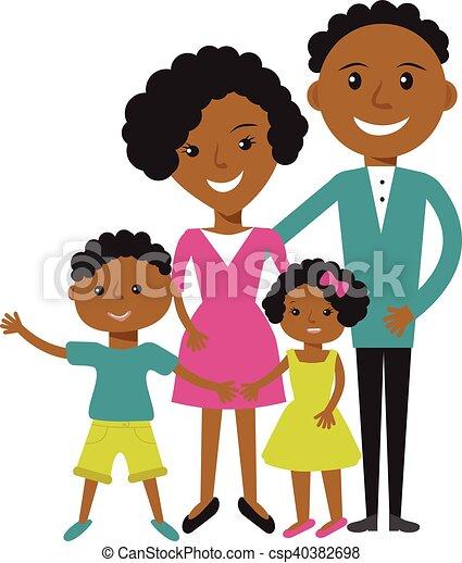 女, 恋人, 若い, clothes., アメリカ人, アフリカ, 微笑, 偶然, 人 - csp40382698