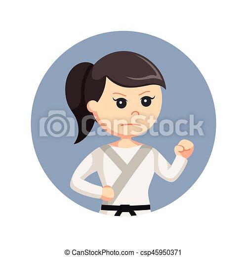 女, 戦闘, ポーズを取りなさい, 空手, 背景, 円 - csp45950371