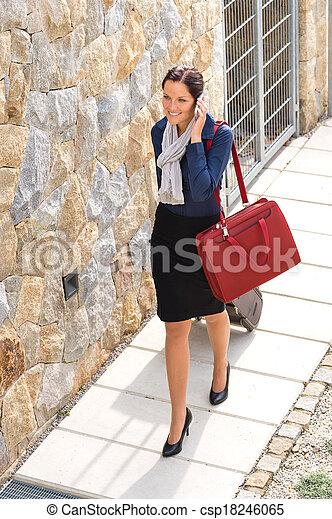 女, 手荷物, 優雅さ, 呼出し, 家電話, 去ること - csp18246065
