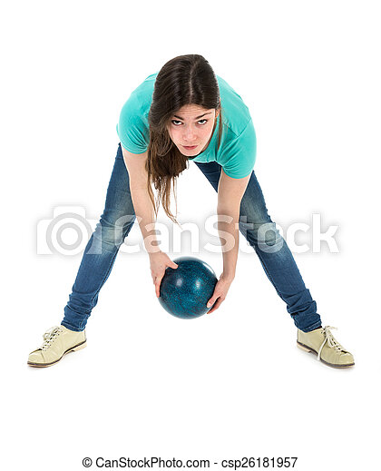 女, 投げる, simplistic, ボール, 方法, ボウリング - csp26181957