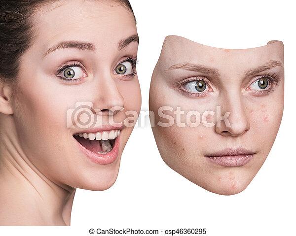 女, 投げ, 離れて, マスク, 若い, ひどく, skin. - csp46360295