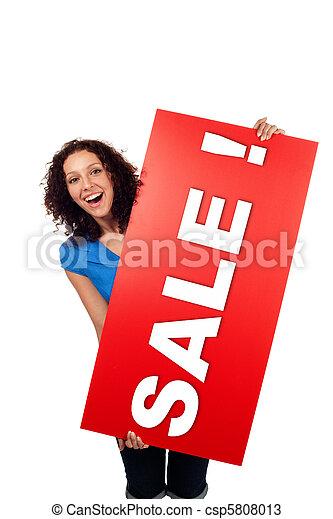 女, 提示, セール, 隔離された, 印, 広告板, 微笑, 赤 - csp5808013