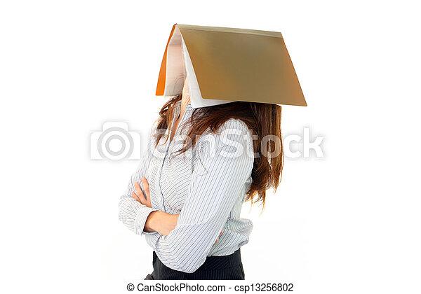 女, 文書, 疲れた - csp13256802