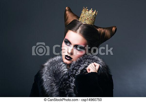 女, 毛皮, 金, grown., コート, ノスタルジア, 定型 - csp14960750