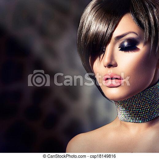 女, 美しさ, girl., ファッション, 素晴らしい, 肖像画 - csp18149816
