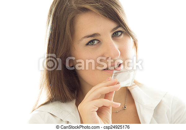 女, 背景, に対して, ブルネット, コンドーム, 保有物, 白, パックされた - csp24925176