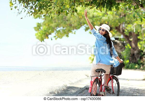 女, 自転車, 楽しみ, 乗馬, 浜, 持つこと - csp17430086