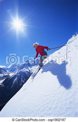 女, 若い, スキー - csp1902197