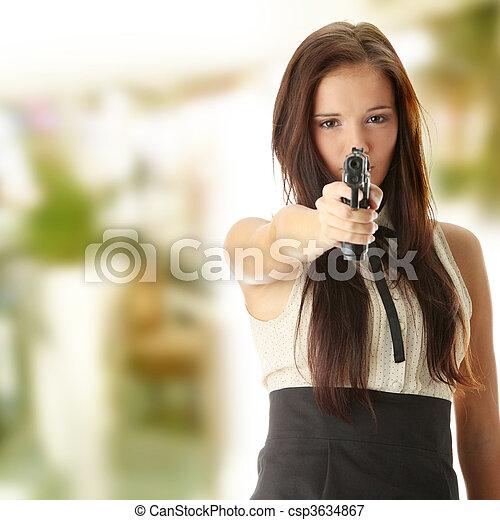 女, 若い, 手銃 - csp3634867