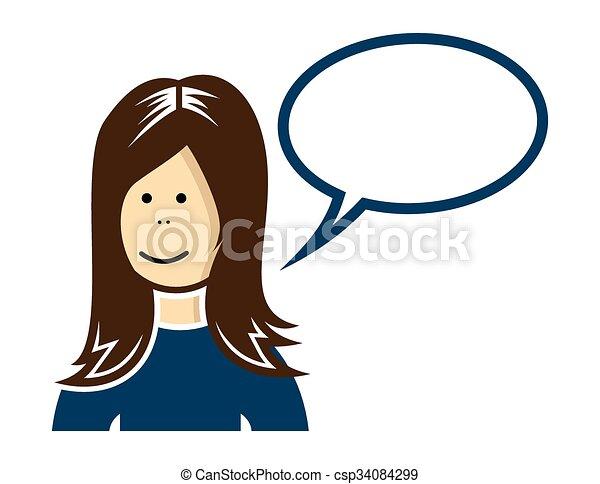 女, 話すこと - csp34084299
