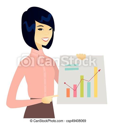 女, 財政, ビジネス, 提示, 若い, チャート, アジア人 - csp49408069