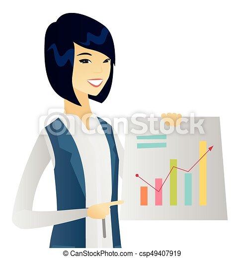 女, 財政, ビジネス, 提示, 若い, チャート, アジア人 - csp49407919