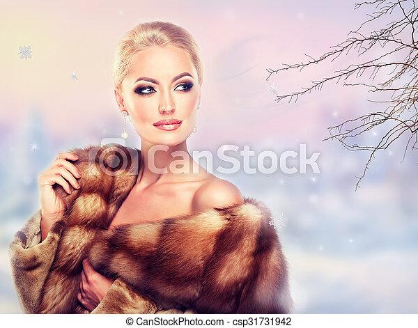 女, 贅沢, 冬, coat., 毛皮 - csp31731942