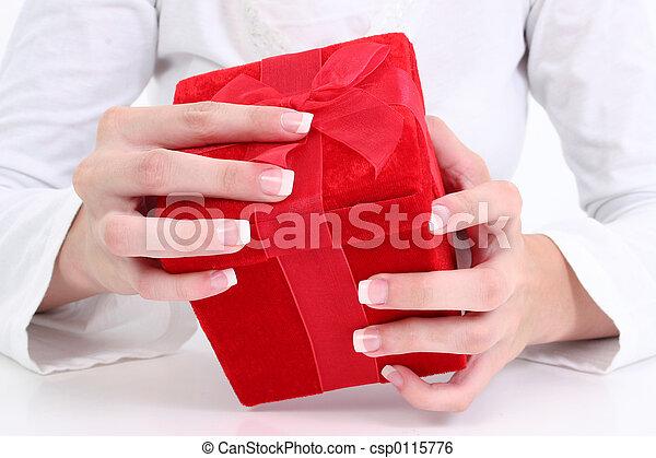 女, 贈り物, 手 - csp0115776