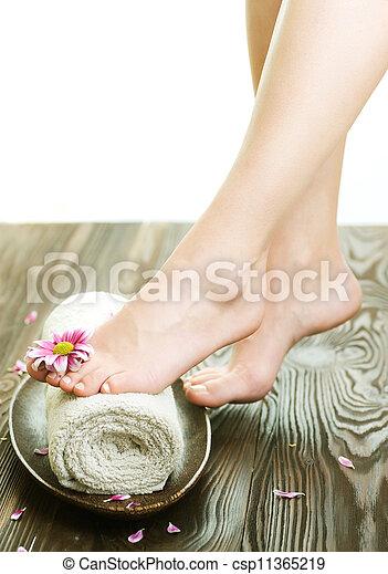 女, 足, concept., エステ, 花, 美しい - csp11365219