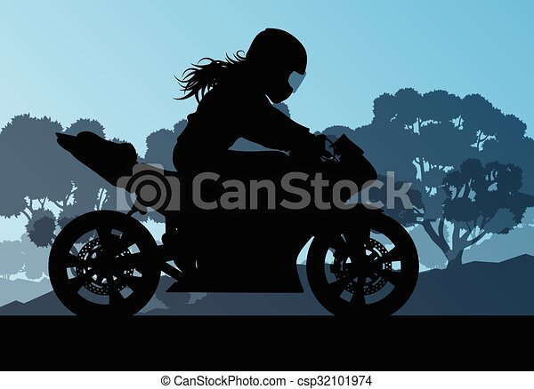 女, 運転手, ベクトル, オートバイ, 背景, パフォーマンス, スタント, 極点 - csp32101974