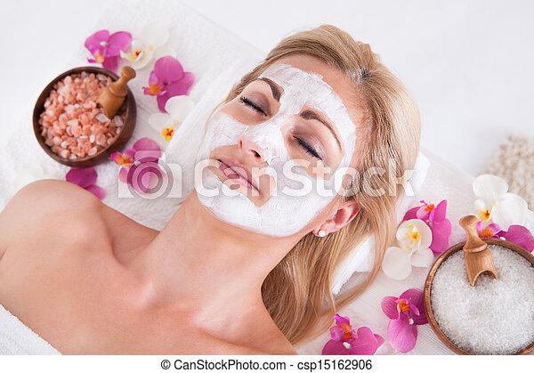 女, 適用, マスク, 顔, 美顔術, cosmetician - csp15162906