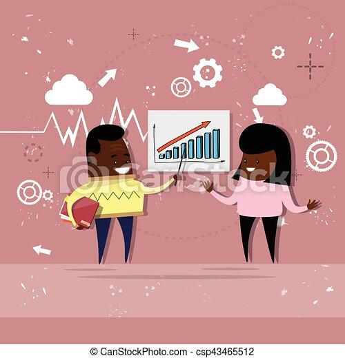 女, 金融, ビジネス, グラフ, 提示, チャート, アメリカ人, アフリカ, レポート, 人 - csp43465512