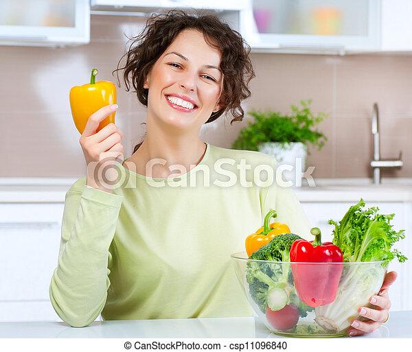 女, 食物, 若い, 健康, 美しい - csp11096840