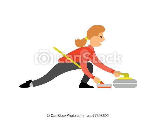 女, curling-broom, スポーツ, 英語, カール - csp77503602