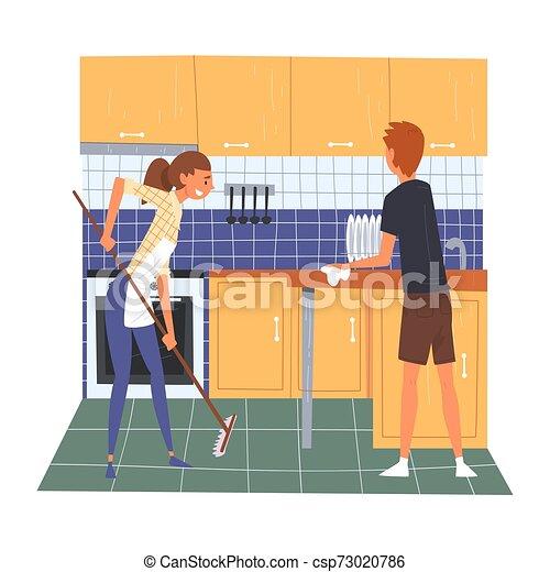 妇女, 家庭, 地板, 妻子, 年轻, 描述, 扫荡, 矢量, 打扫, 一起, 家, 周末, 丈夫, 厨房 - csp73020786
