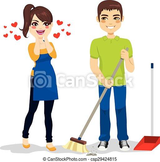 妇女, 打扫, 爱, 男朋友 - csp29424815