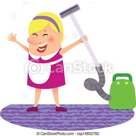 妇女, 打扫 - csp14852782