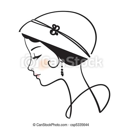 妇女, 描述, 帽子, 脸, 矢量, 美丽 - csp5335644