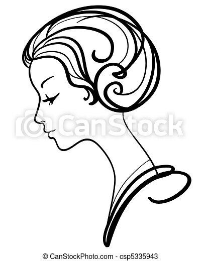 妇女, 描述, 脸, 矢量, 美丽 - csp5335943