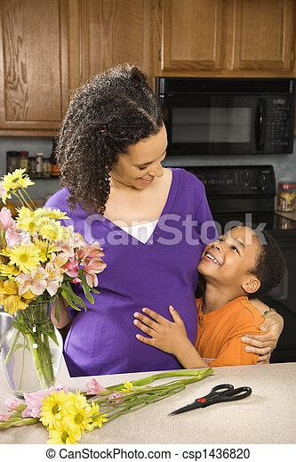 妊娠した, son., 母 - csp1436820