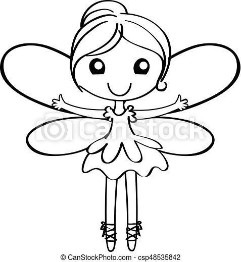 妖精, 漫画, アウトライン - csp48535842