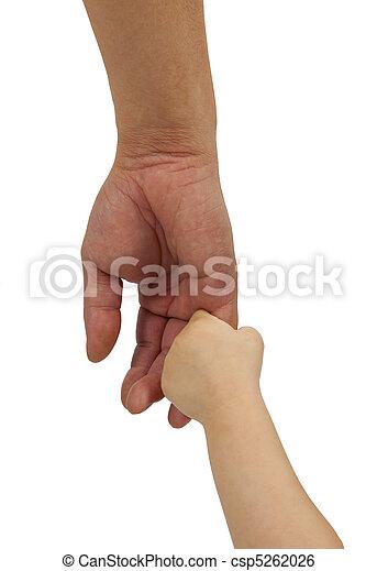 娘, 手掛かり, 父, 隔離された, 手, 背景, 白 - csp5262026