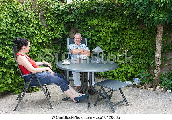 娘, 父, 談笑する - csp10420685