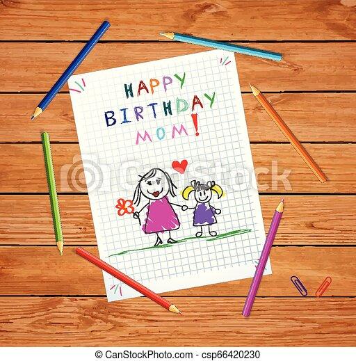 娘, 父, birthday, mom., 図画, 幸せ - csp66420230