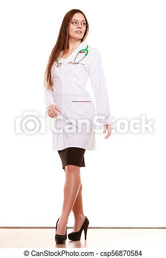 婦女醫生, 醫學的健康, 關心, stethoscope. - csp56870584