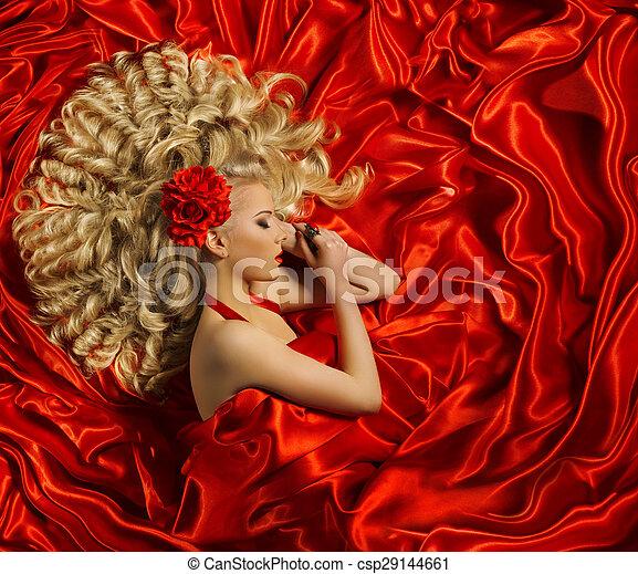 婦女, 卷曲, 發型, 顏色, 長的頭髮麤毛交織物, 時裝, 頭髮, 女孩, 卷發, 模型, 紅色, 風格 - csp29144661