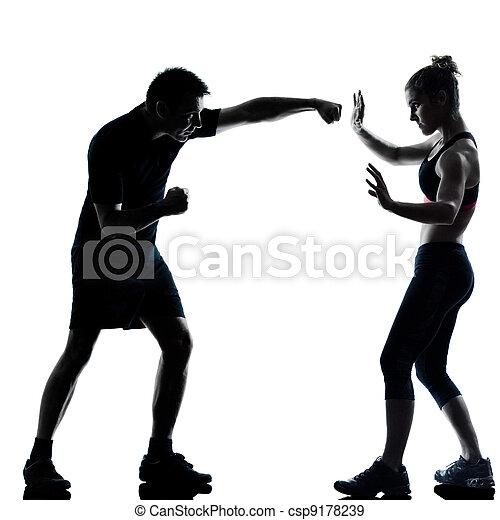 婦女, 夫婦, 行使, 一, 健身, 測驗, 人 - csp9178239