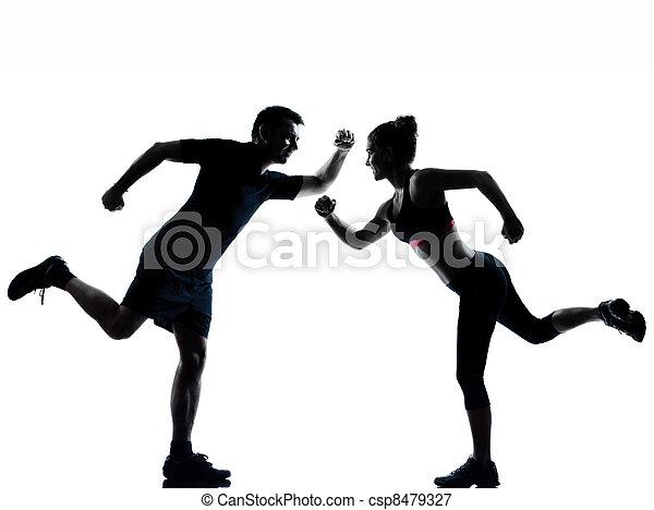 婦女, 夫婦, 行使, 一, 健身, 測驗, 人 - csp8479327