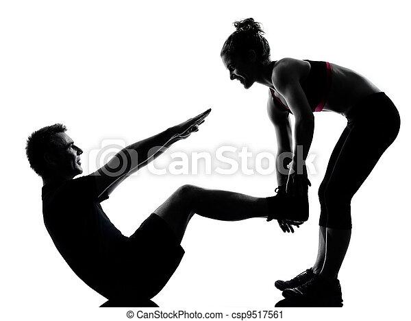 婦女, 夫婦, 行使, 一, 健身, 測驗, 人 - csp9517561