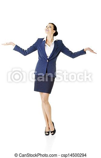 婦女, 她, 事務, 空間, 顯示, 年輕, 棕櫚, 模仿, 愉快 - csp14500294