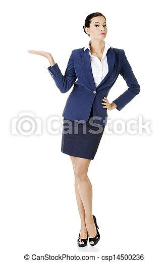 婦女, 她, 事務, 空間, 顯示, 年輕, 棕櫚, 模仿, 愉快 - csp14500236