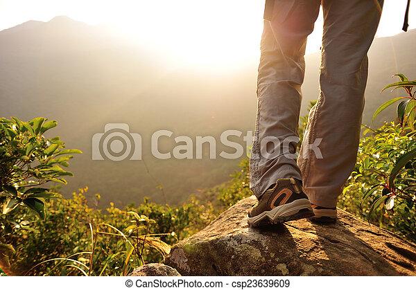婦女, 徒步旅行者, 山, 站, 頂峰 - csp23639609