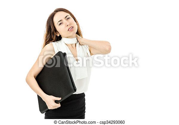 婦女, 痛苦, 脖子, 事務 - csp34293060