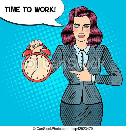 婦女, 藝術, work., 事務, 警報, 插圖, 矢量, 流行音樂, 藏品, 時間, clock. - csp42923479